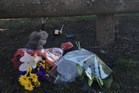 Flowers and toys at the Cowles Stadium carpark in Christchurch, where a two-year-old boy was killed. Photo / Kurt Bayer