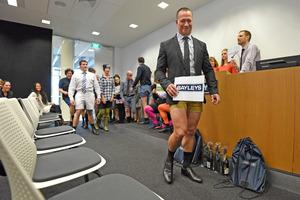 Blair Cashmore wears shorts for Waipuna Hospice. Photo/George Novak