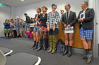 Staff from the ANZ building wearing shorts for Shorts4Waipuna. Photo/George Novak