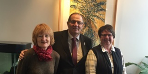 HALIFAX-BOUND: Wanganui MP Chester Borrows with Jenny Saywood and Karen Edlin of Whanganui Restorative Practices who are heading to Canada today.