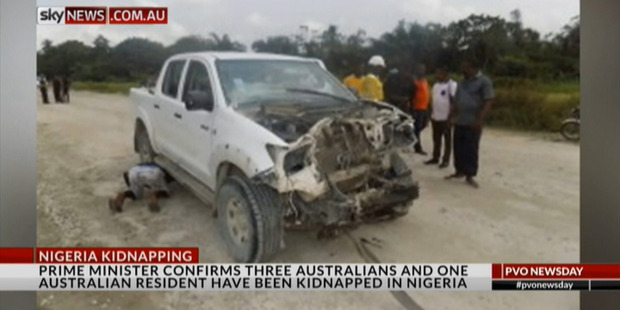 A truck thought to be involved in the kidnapping of seven mine workers in south Nigeria. Photo / Sky News
