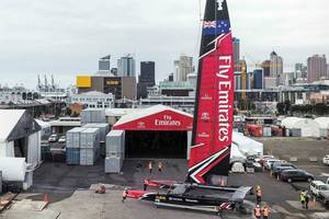 Emirates Team New Zealand launch their new boat. Picture / Supplied