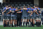 New Zealand All Blacks forwards form a circle, during the All Blacks team Captains Run, held at Forsyth Barr Stadium. Photo / Getty Images.