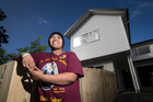 'B' outisde her new family home in Mt Roskill. Photo / Jason Oxenham