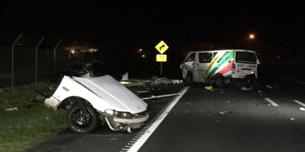 Loading The scene of the fatal car crash in Hamilton in which four people died last night. Photo / supplied
