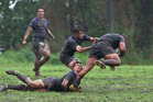 Winter rugby: Rangataua Sports and Te Puna battle it out in the mud at Te Ariki Park. Photo: ANDREW WARNER