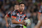 Shaun Johnson of the Warriors runs with the ball during the round 10 NRL match between the Penrith Panthers and the New Zealand Warriors. Photo / Getty Images.
