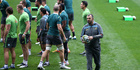 Michael Cheika, the Wallaby head coach looks on during an Australian Wallabies Captain's Run at AAMI Park. Photo / Getty Images