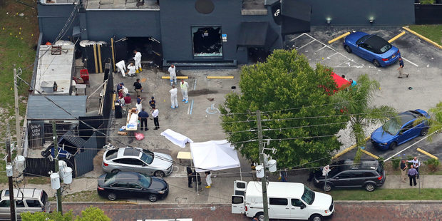 Aerial view of the mass shooting scene at the Pulse nightclub is seen in Orlando. Photo / AP