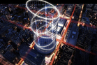 An artist's impression of the proposed Halo thrill ride for the top of New York's Penn Station. Photo / AP