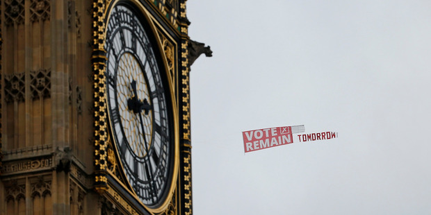 Bild has promised that Germany will put its clocks back one hour so they are in the same time zone as Britain, if Brits vote to stay in the EU. Photo / AP