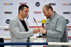 Britain's heavyweight world boxing champion Tyson Fury, right, and Wladimir Klitschko of Ukraine. Photo / File