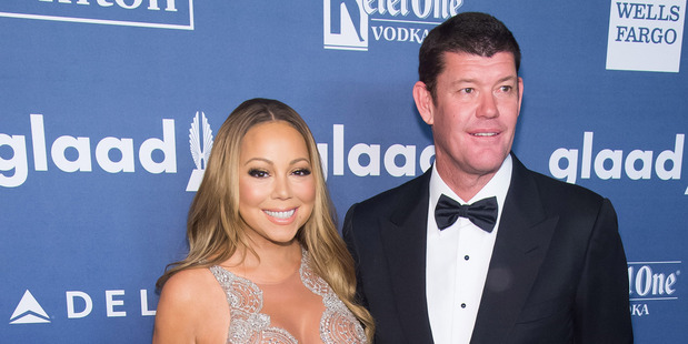 James Packer and singer Mariah Carey. Photo / AP