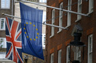 The Union flag and the European Union flag fly outside Europe House, The European Commission Representation in London. Photo / AP