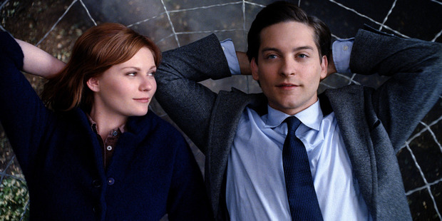 Kirsten Dunst as Mary Jane and Tobey Maguire as Spider-Man in a scene from the film Spider-Man 3.