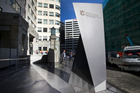 The $67,000 stone sign at the Ministry of Business, Innovation and Employment headquarters, the former Defence House, in Stout St, Wellington. Photo / Mark Mitchell