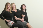 L-R Melanie Gilbert-De Rios, Ciara Young and Natasha Greig-Merrett. Wearing shorts for the Waipuna Hospice Shorts4Waipuna Day. Photo/John Borren