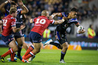 Warriors wing Ken Maumalo made a game high 183 metres from 19 carries in Saturday's 12-10 NRL win over the Sydney Roosters. Photo/NZ Herald.