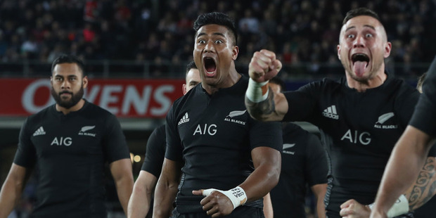 Julian Savea of the All Blacks performs the haka during the International Test match between the New Zealand All Blacks and Wales. Photo / Getty Images.