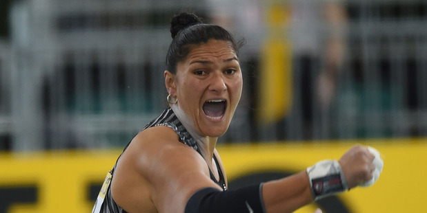 New Zealand's Valerie Adams competes in the Shot Put final at the IAAF World Indoor athletic championships in Portland, Oregon on March 19, 2016. Photo / Getty