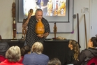 James Webster had a number of his Maori puppets and instruments on show during the talk. Photo / Ben Fraser
