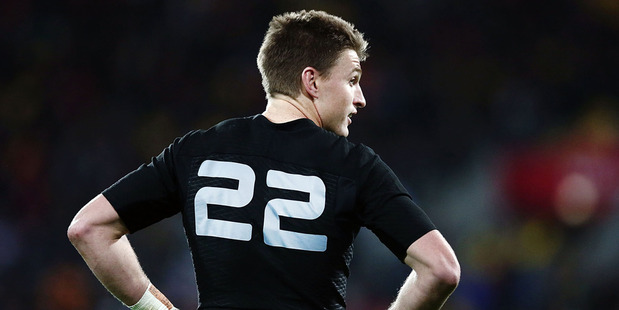 Beauden Barrett of New Zealand looks on during the International Test match between the New Zealand All Blacks and Wales. Photo / Getty