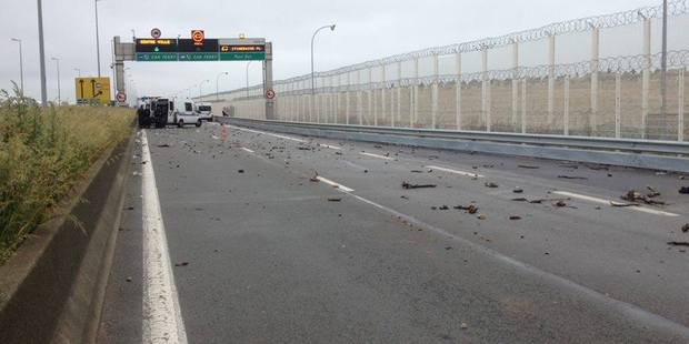 Debris left after an altercation between police and migrants. Photo / Facebook