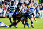 Carlos Price of St. Kentigern makes a break during the Auckland Schoolboy rugby match between Sacred Heart College and St. Kentigern College. Photo / Getty Images