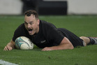 All Blacks fullback Israel Dagg sprints in a try at fulltime against Wales. Photo / Brett Phibbs