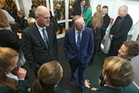 Bay of Plenty MP Todd Muller with John Key at Mount Maunganui Intermediate School. Photo/John Borren