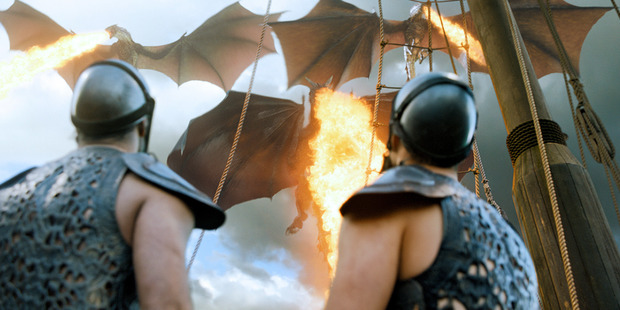 Dany's three dragons attack the Slavers' ships as one. Photo / HBO