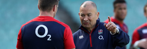 Eddie Jones, the England head coach talks to George Ford duirng the England captain's run at Allianz Stadium. Photo / Getty