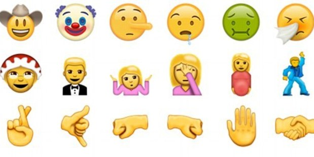 The new emojis include a face-palm face, fingers crossed, and a clown.