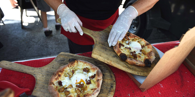 Prepared foods such as the Red Zebra's breakfast pizza are a hit with customers at farmers markets. Photo / Washington Post