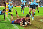 Dane Gagai scoring the last of his three tries in game two of the 2016 State of Origin series. Photo / Getty Images