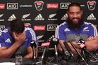 Charlie Faumuina jokes about the strength of All Blacks teammate George Moala. Photo / Brett Phibbs