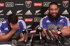 All Blacks George Moala and Charlie Faumuina ahead of the third test against Wales.
