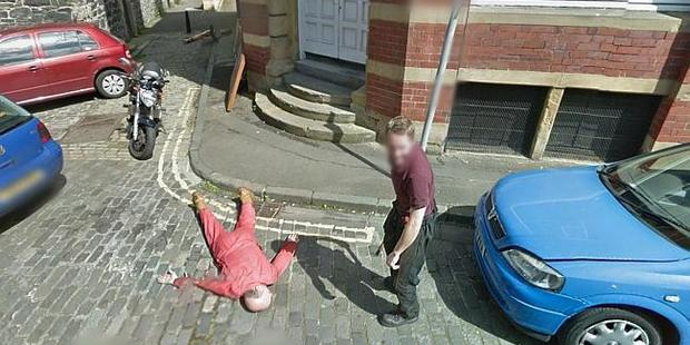 Google Street View appeared to catch an axe-murder in progress. Police investigated. Image / Google