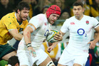 James Haskill of England in the action against Australia. Photo / Getty