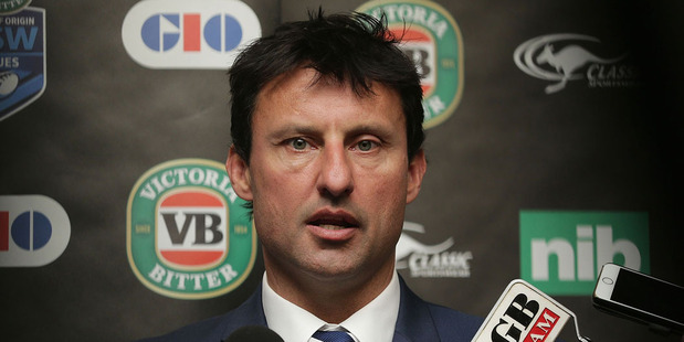Coach Laurie Daley talks to media during the New South Wales Blues State of Origin team announcement. Photo / Getty