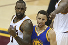 Cleveland Cavaliers forward LeBron James, left, and Golden State Warriors guard Stephen Curry. Photo / AP