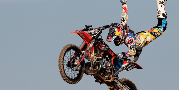 Loading Kiwi rider Levi Sherwood will compete in the Red Bull X-Fighters despite dislocating his knee yesterday. Photo / Getty