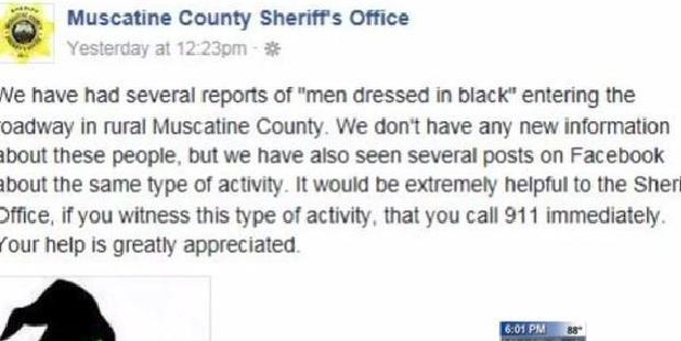 The post from the sheriff's office indicates the sightings are being taken seriously. Photo / Facebook