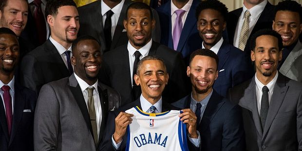 President Barack Obama poses for a with 2015 NBA Champions, the Golden State Warriors. Photo / Getty Images