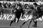 Historic Sport - Rugby All Blacks versus France, in Christchurch, New Zealand From left to right; Frano Botica (NZ), Philippe Sella (France), Arthur Stone (NZ), Eric Champ (France).