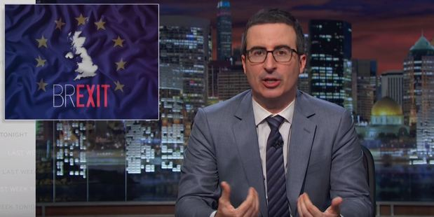 John Oliver rants about Brexit on the Last Week Tonight television show. / Getty Images