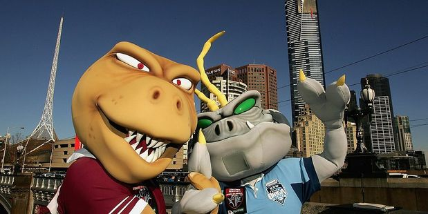State of Origin mascots: The Queensland canetoad and the New South Wales' cockroach. Photo / Getty Images