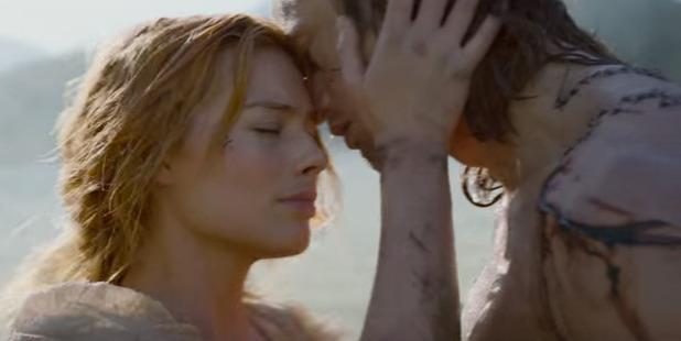 Margot Robbie and Alexander Skarsgard as Jane and Tarzan.