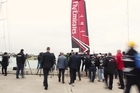 Emirates Team New Zealand launch the first of their test boats at their new base on Beaumont Street.