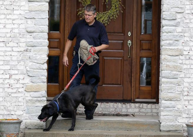 Bear, the ED dog used when authorities raided former Subway spokesman Jared Fogle's house. Photo / AP